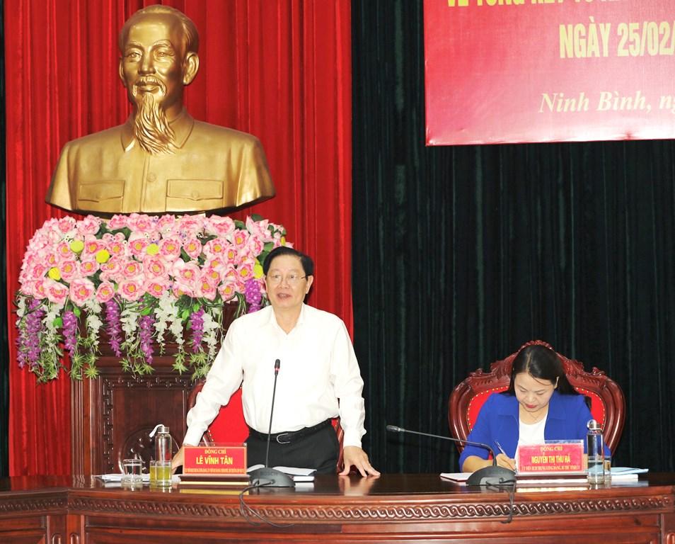 Đoàn kiểm tra của Ban chỉ đạo Trung ương về thực hiện Quyết định 290 của Bộ Chính trị làm việc với Ban Thường vụ Tỉnh ủy Ninh Bình