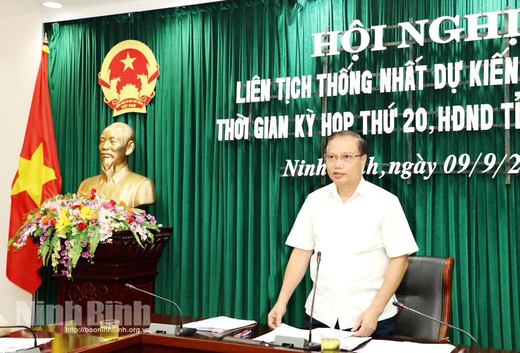 Hội nghị liên tịch thống nhất dự kiến nội dung thời gian Kỳ họp thứ 20 HĐND tỉnh khóa XIV