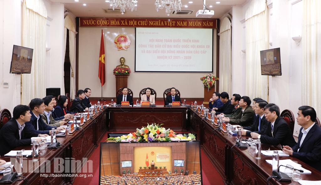 Hội nghị trực tuyến toàn quốc triển khai công tác bầu cử đại biểu Quốc hội khóa XV và bầu cử đại biểu HĐND các cấp, nhiệm kỳ 2021-2026