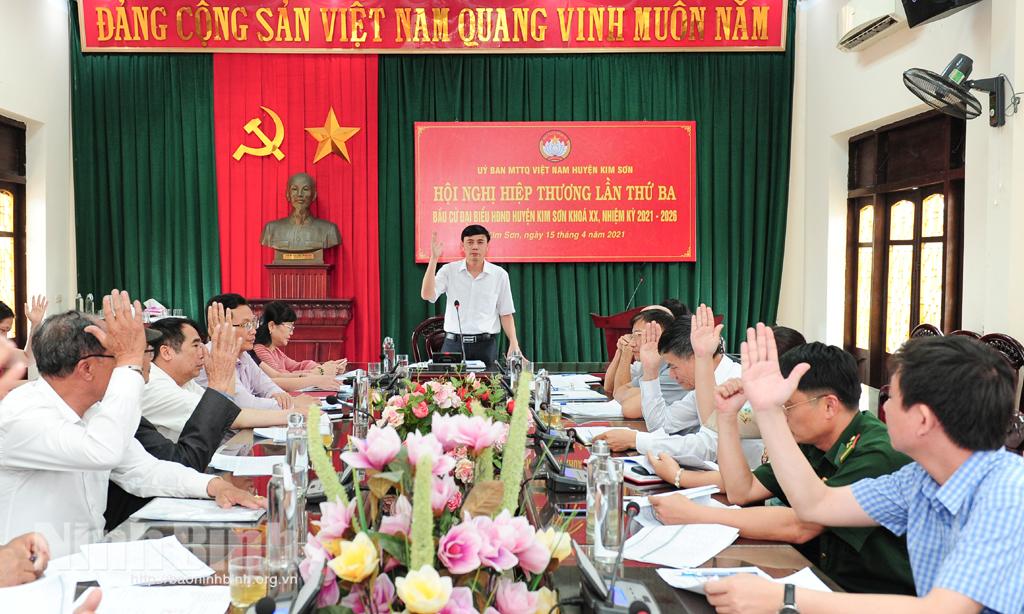 Hội nghị hiệp thương lần thứ 3 bầu cử đại biểu HĐND huyện Kim Sơn nhiệm kỳ 2021 -2026